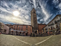 Sterzing/Vipiteno city in Italy. Image of the market place in the middle of the old and traditional city Sterling/Vipiteno in Tyrol at the Italian Alps. It is Stock Photo