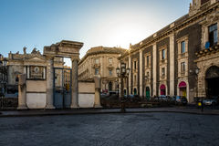 Stesicoro Square and the entrance to the Ruins of the Roman Amphitheater at sunset - Catania, Sicily, Italy Royalty Free Stock Image