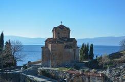 Stet John på Kaneo i Ohrid Arkivfoto