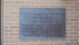 Stethem Memorial Plaque, Gulfport, Mississippi. Robert Dean Stethem November 17, 1961 – June 15, 1985 was a United States Navy Seabee diver who was stock image