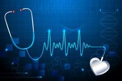 Stethescope que mostra a batida de coração ilustração stock