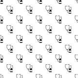 Stethoscoop, de medische naadloze vector van het flessenpatroon stock illustratie