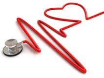 Stethoscoop en een silhouet van het hart en ECG Stock Afbeeldingen