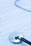Stethoscoop en electrocardiogram Royalty-vrije Stock Foto