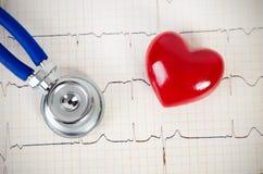 Stethoscoop en hart 3d model op cardiogram Stock Afbeeldingen