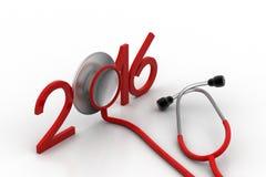 Stethoscoop met nieuw jaarpictogram Royalty-vrije Stock Foto's
