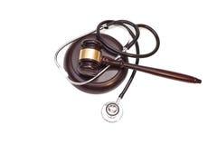 Stethoscoop met rechtershamer stock foto's