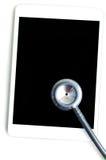 Stethoscoop met tabletcomputer stock afbeelding