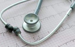 Stethoscoop op ECG. Stock Fotografie