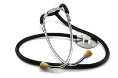 Stethoscoop op een witte achtergrond Stock Foto's