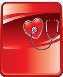Stethoscoop op hart op rode achtergrond Royalty-vrije Stock Foto's