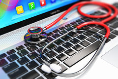 Stethoscoop op laptop toetsenbord royalty-vrije illustratie