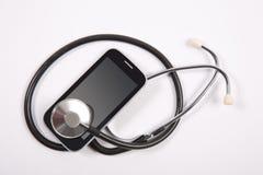 Stethoscoop op mobiele telefoon Royalty-vrije Stock Foto