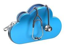 Stethoscoop in opengeritst 3d wolkenpictogram Stock Afbeeldingen