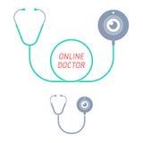 Stethoscoop, Webnok Telegeneeskunde en telehealth vlak illustrat Stock Afbeelding