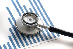 Stethoscop auf Statistiken grafisch Stockbild