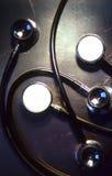 Stethoscope. On metal tray stock photos