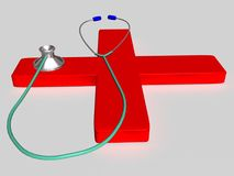 Stethoscope 1. A medical instrument - A stethoscope on a red cross Royalty Free Stock Photography