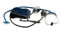 Stethoscope. Shot of blue stethoscope isolated on white Royalty Free Stock Image
