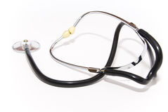 Stethoscope. Medical device stethoscope, black color, with metal parts on a white background stock image
