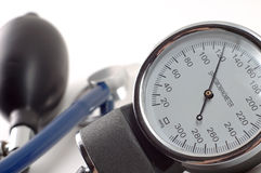 Stethoscope. On 120 mmHg with white background Royalty Free Stock Images