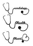 Stethoscope. Black silhouette stethoscope isolated vector illustration Stock Images