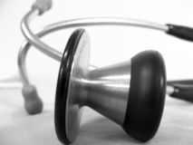 Stethoscope. Close-up of a cardiology stethoscope in grayscale Royalty Free Stock Photo