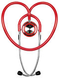 Stethoscope. Curved into the shape of a heart on white background Stock Images