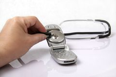 Stethoscope. Hand with a medical stethoscope Stock Images