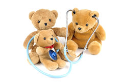 Stethoscope. Three teddy bears and a stethoscope Stock Photography