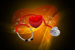 Stethoscope. Digital illustration of stethoscope and heart in colour background Royalty Free Stock Photography
