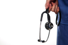 Stethoscope. Surgeon holding a stethoscope on a white backgroud Royalty Free Stock Photos