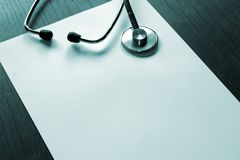 Stethoscope. Prescription sheet and scope Royalty Free Stock Photography