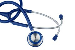 Stethoscope against white background Stock Photos