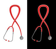 Stethoscope AIDS awareness. 3D render of stethoscope tubing AIDS awareness ribbon Royalty Free Stock Photos