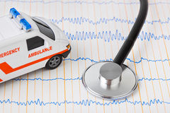 Stethoscope and ambulance car on ecg Royalty Free Stock Photography