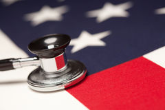 Stethoscope on American Flag Stock Images