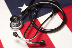 Stethoscope on American Flag. With Selective Focus Stock Image