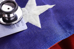 Stethoscope and American Flag Stock Photography