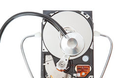 Stethoscope analyzes the hard disk. Stock Photos
