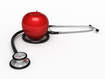 Stethoscope and apple. 3d render Stethoscope and red apple( on white and clipping path Royalty Free Stock Image