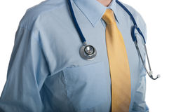 Stethoscope around doctor's neck Royalty Free Stock Photography