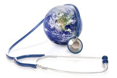 Health of earth. Stethoscope around earth symbolizing health of Earth`s ecosystem; elements of this image furnished by NASA royalty free stock images
