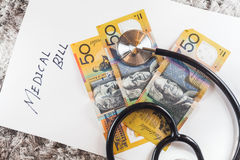 Stethoscope with Australia Aussie Bank Notes Royalty Free Stock Images