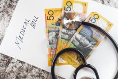 Stethoscope with Australia Aussie Bank Notes Stock Photography