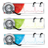 Stethoscope banner set. Vector composition in three different color variations Stock Image