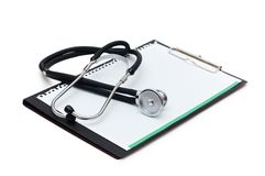 Stethoscope on the binder Royalty Free Stock Photo
