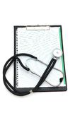 Stethoscope on the binder isolated Stock Photos