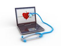 Stethoscope on black laptop Stock Photos