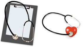 Stethoscope and blank clipboard Stock Images